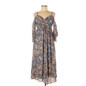 Hinge Floral and Paisley Print Boho Style Dress